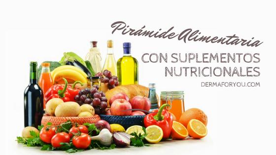 Pirámide alimentaria que incluye suplementos nutricionales